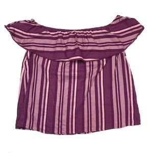 Lane Bryant Ruffle Striped Off The Shoulder Top